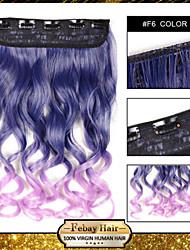 resistencia a altas temperaturas en dos tonos ondulada extensión peluca 5 clip de 24 pulgadas 16 colores f6 disponibles