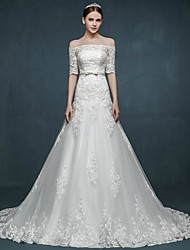 A-line Wedding Dress Court Train Off-the-shoulder Tulle with
