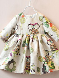 Kid's Printing Owls Cotton Dress