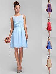 vestido de dama de gasa hasta la rodilla regreso al hogar - el cielo azul, más el tamaño de una línea / princesa bateau