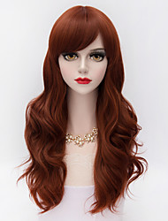 Fashion Medium Long Natural Wavy Hair  Auburn Heat-resistant Synthetic European Style Lolita Women Wig