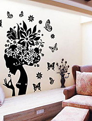 autocollant de mur de fleurs dame