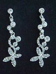 Bridal Flower Stud Earring With Clear Rhinestone crystals