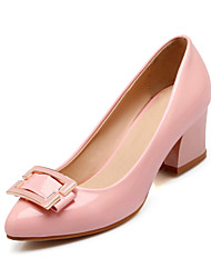 Women's Shoes Patent Leather Chunky Heel Heels/Round Toe Pumps/Party & Evening/Dress/Casual Black/Blue/Pink/Beige