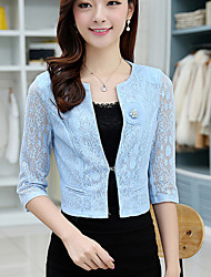 Women's Round Lace/Flower Coats & Jackets , Cotton Blend Casual/Party ¾ Sleeve DEAR