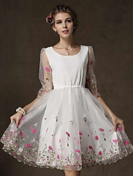 Women's Party/Cocktail Vintage Bodycon Dress,Floral Knee-length Short Sleeve White Summer