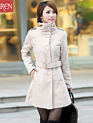 Muairen®Women'S Fashion Waist And Long Sections Woolen Coat Jacket
