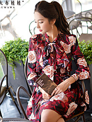Pink Doll®Women's Casual Party Print OL Bow Puff Sleeve Slim Shirt