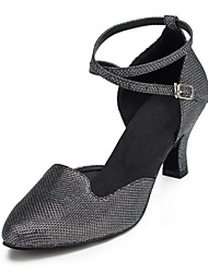 Non Customizable Women's Dance Shoes Salsa Flocking Cuban Heel