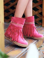 Black/Brown/Red/Almond Wedge Heel 3-6cm Boots (PU)