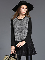 Winter Women Clothing Plus Size Vintage Fashion Woolen Patchwork Lace Hollow Long Sleeve Long Blouse Shirt