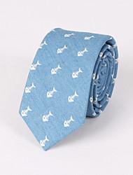 Blue Printing Fishbone Skinny Ties