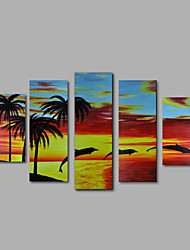 Hand-Painted Oil Painting on Canvas Wall Art Abstract Contempory Seascape Dophins Five Panel Ready to Hang