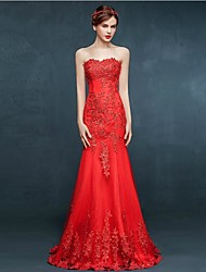 Formal Evening Dress Trumpet / Mermaid Sweetheart Floor-length Tulle with Appliques / Crystal Detailing / Lace