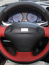 XuJi ™ Red Black Genuine Leather Black Suede Steering Wheel Cover for Ford Fiesta 4 Mk4 1996-2006 Old Fiesta