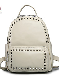 Handcee® Hot Selling Woman Real Leather Fashion Rivet Backpack