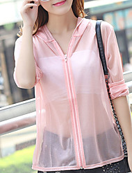 Women's Casual/Daily Simple Summer Blouse,Solid Long Sleeve Cotton Thin