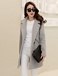 Women's Red/Gray Coat , Casual Long Sleeve Others