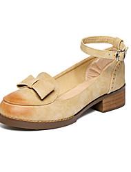 Zapatos de mujer Cuero Tacón Bajo Comfort/Punta Redonda Planos Vestido/Fiesta y Noche Marrón/Gris