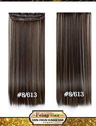 24 pulgadas 1pc / set 8/613 clip largo recta sintético en extensiones de cabello con 5 clips - 16 colores disponibles