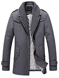 Men's Long Sleeve Long Coat , Acrylic/Polyester/Wool Pure