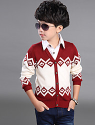 Boy's Rhombus Check Pattern Knitting Woolen Cardigan