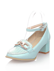Women's Shoes Chunky Heel Heels/Round Toe/Closed Toe Pumps/Heels Office & Career/Dress/Casual Blue/Pink/White