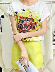 Women's Yellow Set , Print Short Sleeve