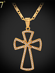 U7® Women's CZ Jewelry Platinum/18K Gold Plated New Trendy Cubic Zirconia Windmill Cross Pendant Necklace