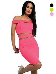 Women's Bateau Hollow Out Two Piece Chic Cut Out Party Dress , Knee-length High Quality Off Shoulder Fashion Dresses