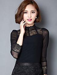 Mulheres Camiseta Colarinho Chinês Manga Longa Renda/Com Transparência Malha/Elastano/Nylon Mulheres