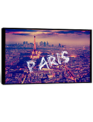 visuele star®night paris frameless canvas afdrukken klaar om de stad kunst aan de muur hangen