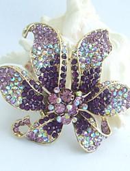 Gorgeous 3.74 Inch Gold-tone Purple Rhinestone Crystal Orchid Flower Brooch Pendant