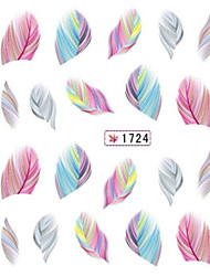 5PCS Water Transfer Printing Colorful Feather Nail Stickers