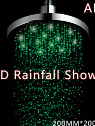 8 Inch LED Shower With 3 Color Changing LED Rainfall Shower