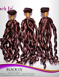 "3 Pcs Lot 12""-30"" Brazilian Spiral Curl Virgin Hair Wefts Chocolate Brown Human Hair Weaves Tangle Free"