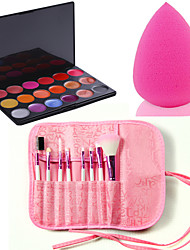 Pro 8pcs Makeup Brushes Set Foundation Eyeshadow Lip +18 Color Lipstick cosmetic palette Lip Gloss +Sponge Blender Puff