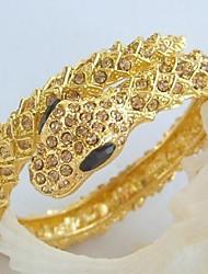 Unique Snake Bracelet Bangle With Topaz Rhinestone Crystals