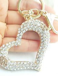 Honey Love Heart Key Chain With Clear & Topaz Rhinestone Crystals