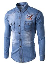 Men's Print Long Sleeve Jacket , Denim Casual/Work