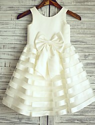 Princess Knee Length Flower Girl Dress - Satin Tulle Sleeveless Scoop Neck with Bow