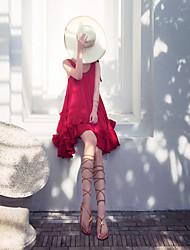 Vestido de maternidad Sobre la rodilla Volante - Raso - Escote Redondo Sin Mangas