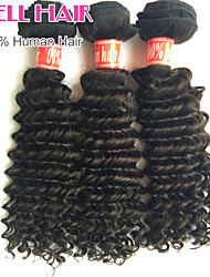 "4Pcs Lot 8""-30"" Brazilian Virgin Hair Deep Wave Natural Black Curly Human Hair Weave Bundles Shed & Tangle Free"
