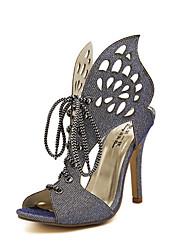 Women's Shoes Synthetic Stiletto Heel Open Toe Sandals Dress/Casual Blue/Gold