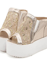 Women's Shoes Tulle Wedge Heel Wedges/Peep Toe Sandals Casual Silver/Gold