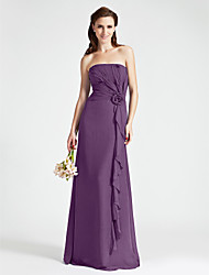 Floor-length Strapless Bridesmaid Dress - Floral Sleeveless Chiffon