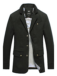 2015 Brand New Men Jackets Turn Down Asian Size Solid Black Color Fashion Men Clothing 112-2 7718 SP001592