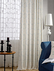 One Panel Light Blue Circle Linen  Cotton Embroidery Curtain Drape