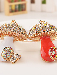 Rhinestone Crystal Fashion Mushroom Key Chain Ring Keyring (Random Color)