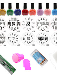 New 24Pcs/Set Polish Print Nail Image Plate Stamper Scraper Set DIY Manicure Tools